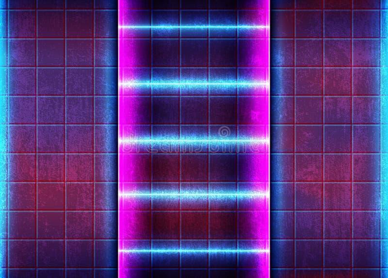与明亮的霓虹作用的抽象焕发背景 库存例证