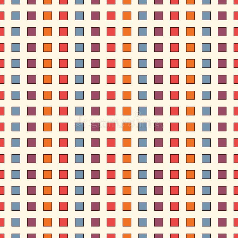 与明亮的颜色重复的正方形的无缝的样式 垂直的破折线抽象背景 马赛克墙纸 库存例证