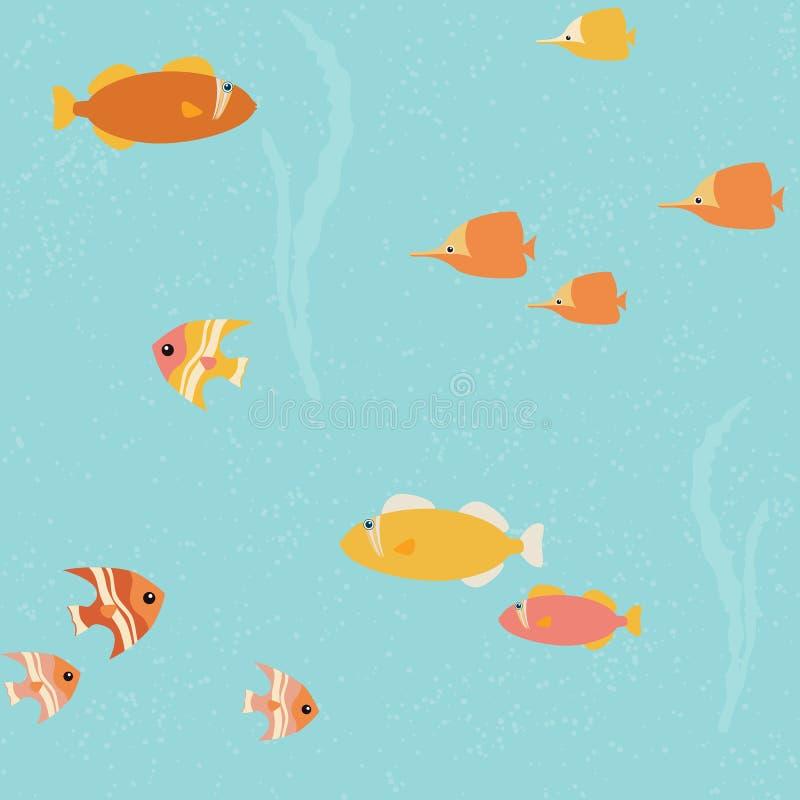 与明亮的鱼的无缝的样式 皇族释放例证