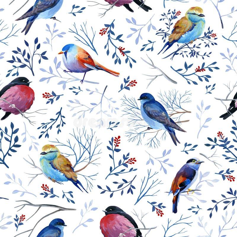 与明亮的鸟的Gouahe无缝的样式在与叶子的分支 图库摄影