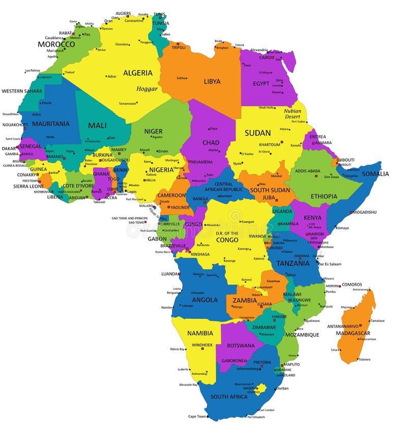 与明显地被标记的,被分离的层数的五颜六色的非洲政治地图 库存例证
