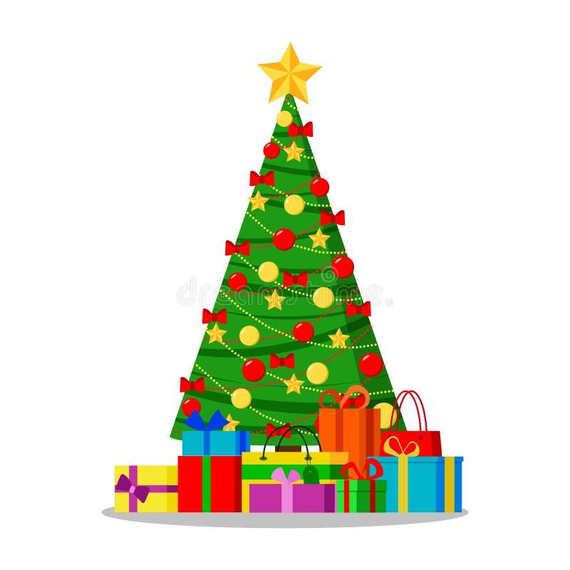 与星、光、装饰球和弓的装饰的圣诞树与礼物在树下 向量例证