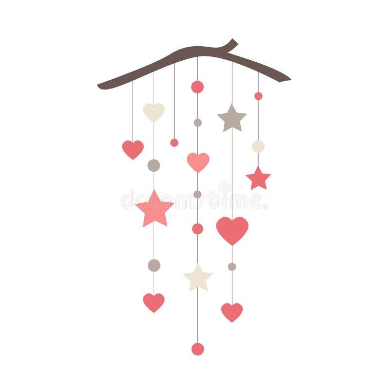 与星、心脏和圈子的典雅的墙帷横幅 每天或情人节传染媒介装饰 向量例证