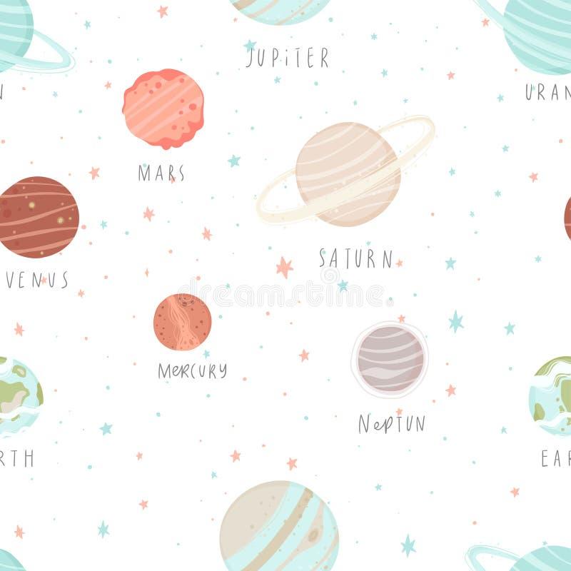 与星、星座、行星和手拉的元素的无缝的样式 皇族释放例证