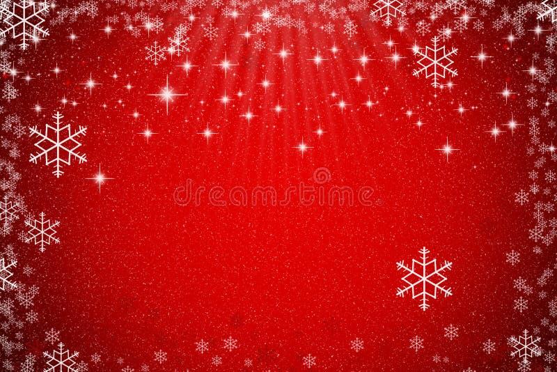 与星、雪花和lig的抽象红色圣诞节背景 免版税图库摄影