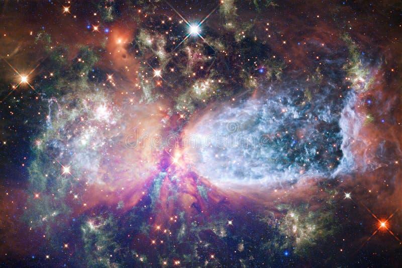 与星云和星的无限美好的波斯菊背景 免版税库存图片