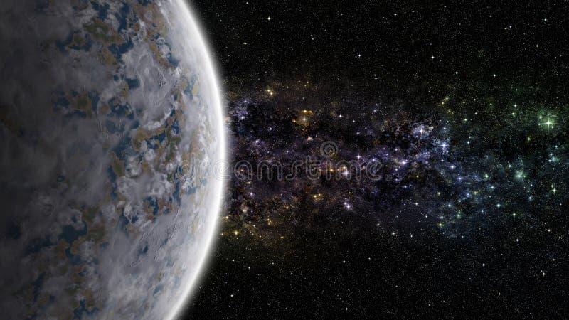 与星云的外籍人行星在外层空间 库存例证
