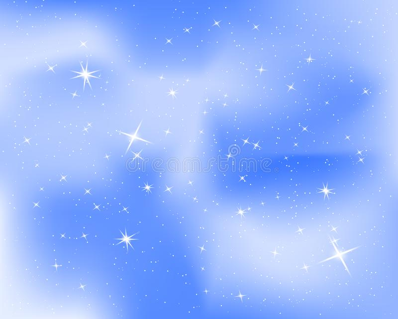 与星和云彩的夜空 闪闪发光满天星斗的蓝色背景 婴孩室的好的设计 也corel凹道例证向量 10 eps 向量例证