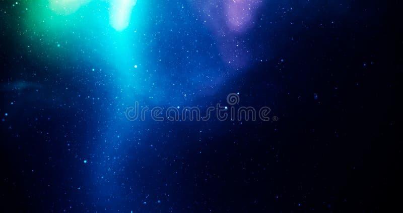与星和五颜六色的蓝色,绿色和紫色光的宇宙 免版税库存照片