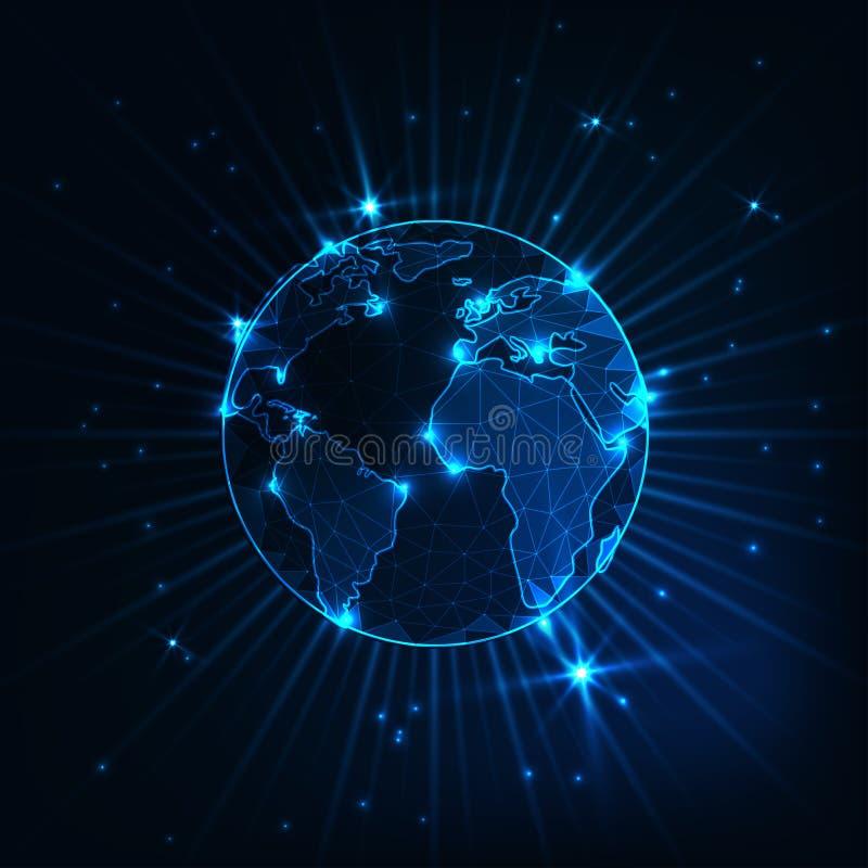 与星和光芒的未来派发光的低多角形行星地球地球在深蓝背景 向量例证
