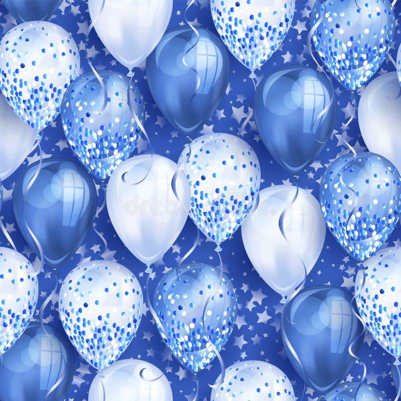 与星和发光的蓝色现实3D氦气气球的无缝的样式您的设计的 有闪烁和丝带的光滑的气球, 皇族释放例证