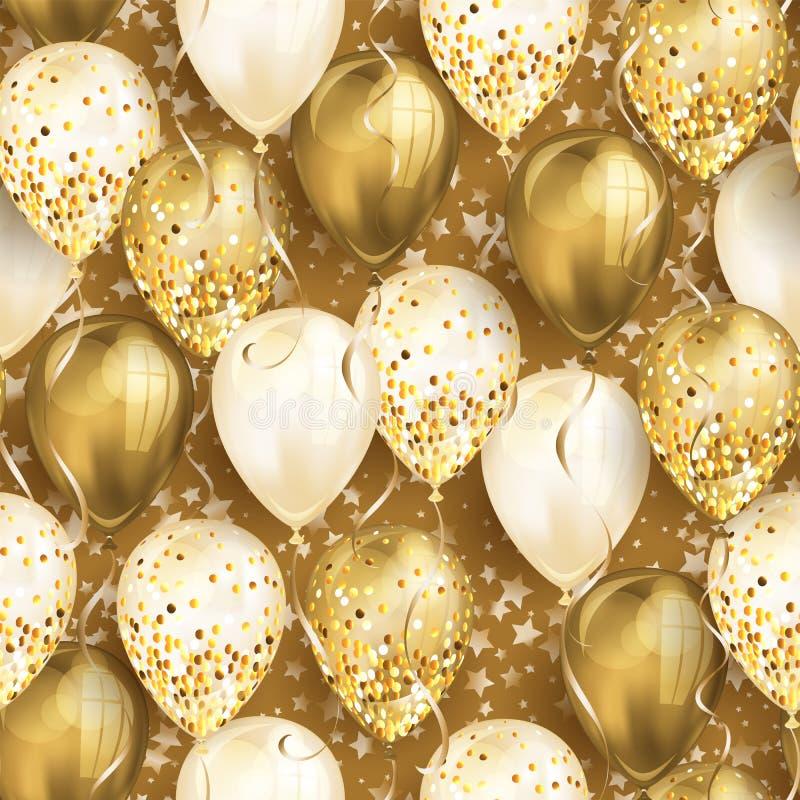 与星和发光的金现实3D氦气气球的无缝的样式您的设计的 有闪烁和丝带的光滑的气球, 库存例证