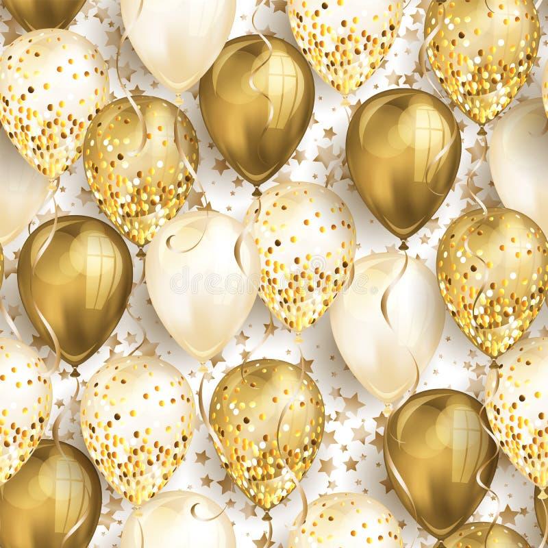 与星和发光的金现实3D氦气气球的无缝的样式您的设计的 有闪烁和丝带的光滑的气球, 向量例证