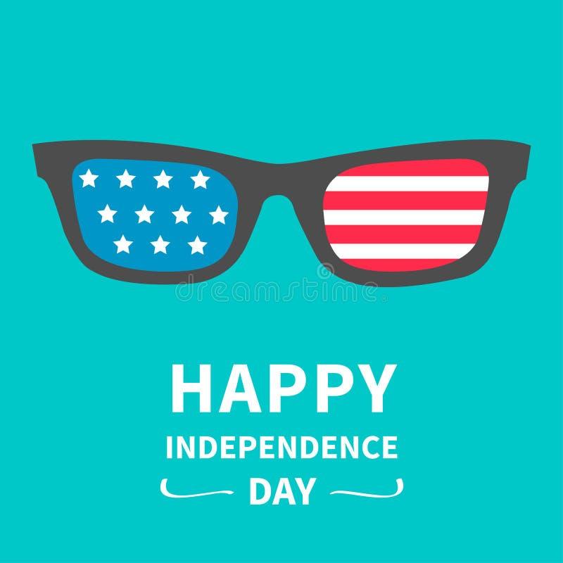 与星和小条的玻璃 愉快的独立日美利坚合众国 向量例证