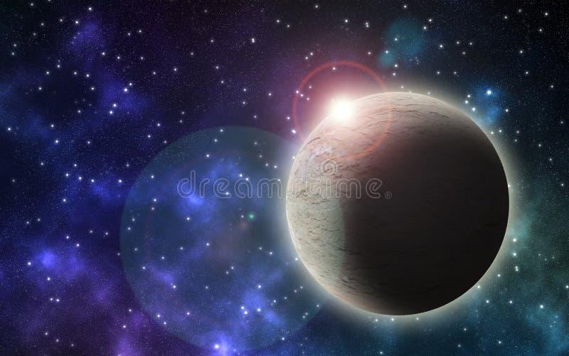 与星和巨大的行星的夜空 皇族释放例证