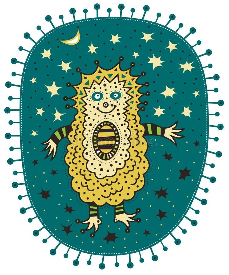 与星和月亮的异常的黄色猬 库存例证
