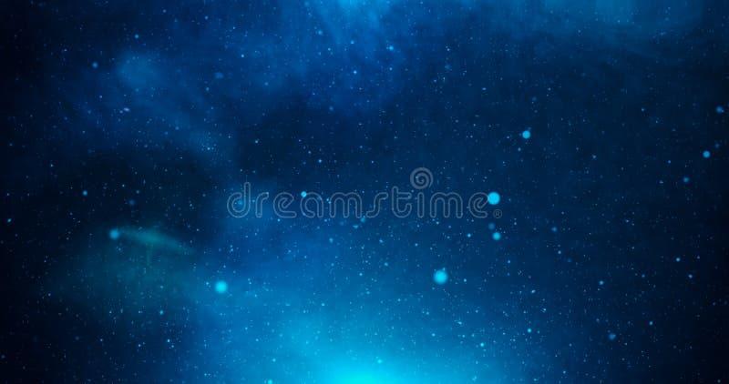 与星和深刻的蓝色光的宇宙 免版税图库摄影