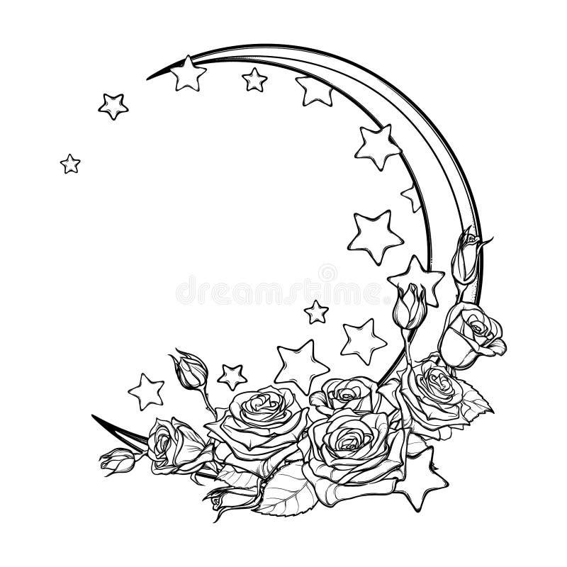 与星和玫瑰贺卡的淡色goth月牙 向量例证