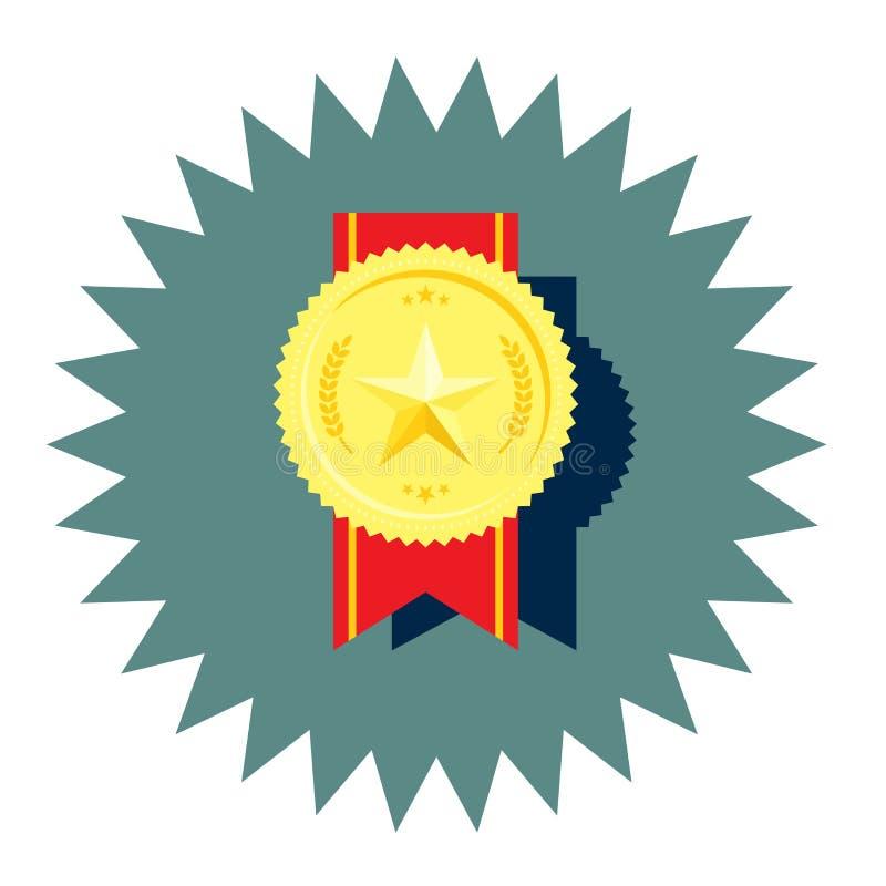 与星和红色丝带传染媒介的金黄奖牌 皇族释放例证