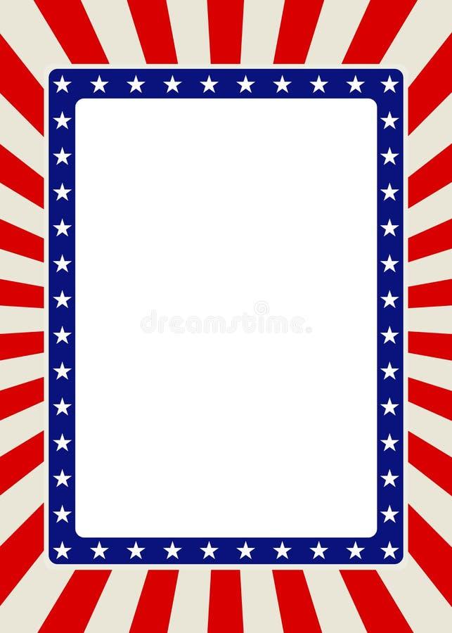 与星和红色光芒的爱国框架边界 免版税库存照片