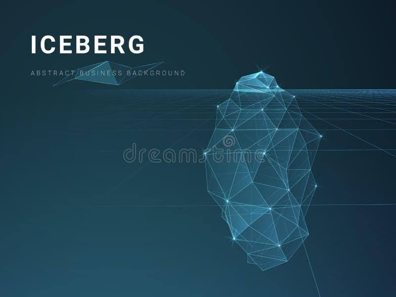 与星和线的抽象现代企业背景传染媒介在一座冰山的形状在蓝色背景的 向量例证
