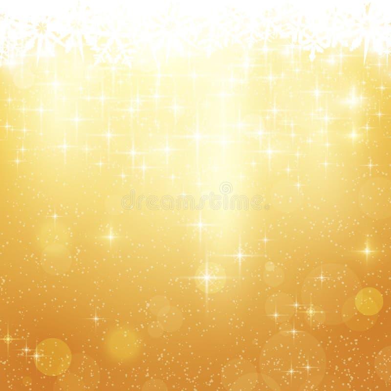 与星形和光的金黄圣诞节背景 皇族释放例证