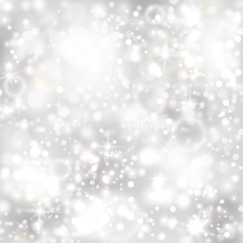 与星形和闪光的光的银色背景 皇族释放例证