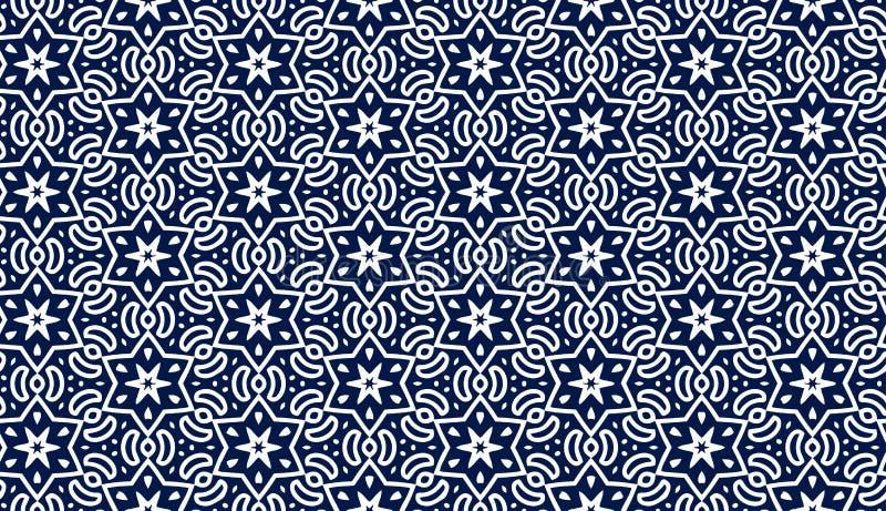 与星形的蓝色模式 向量例证