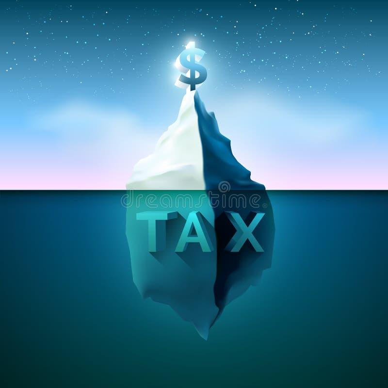 与星照明设备的冰山在天空 比较收入并且收税 向量例证