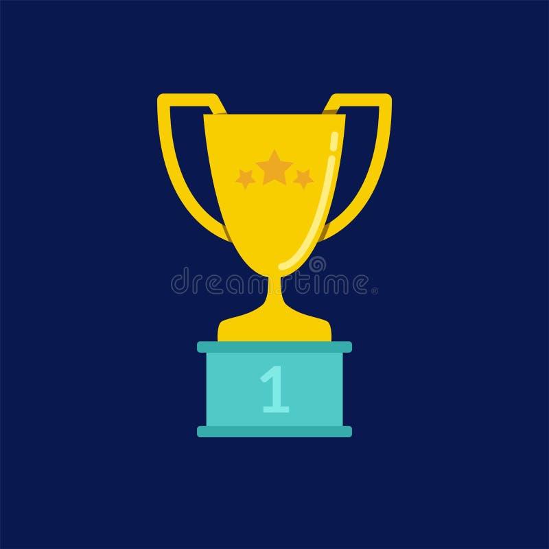 与星的优胜者` s战利品在垫座 向量例证