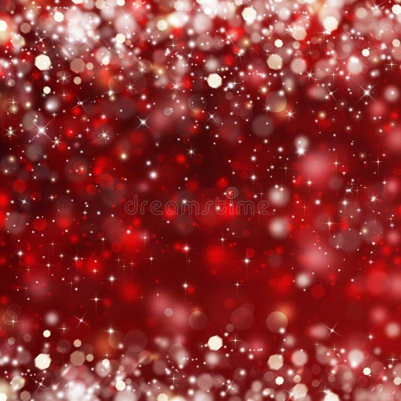 与星的典雅的红色欢乐背景 库存例证