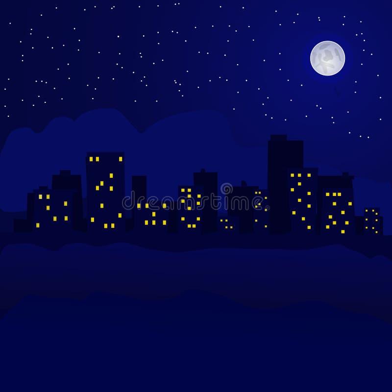 与星的夜间都市风景在天空 免版税库存图片
