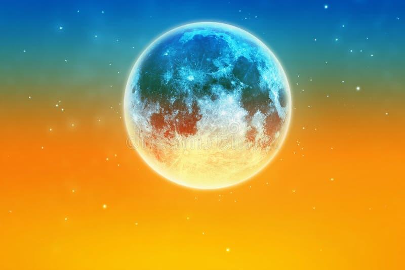 与星的抽象五颜六色的满月大气在日落天空 免版税图库摄影
