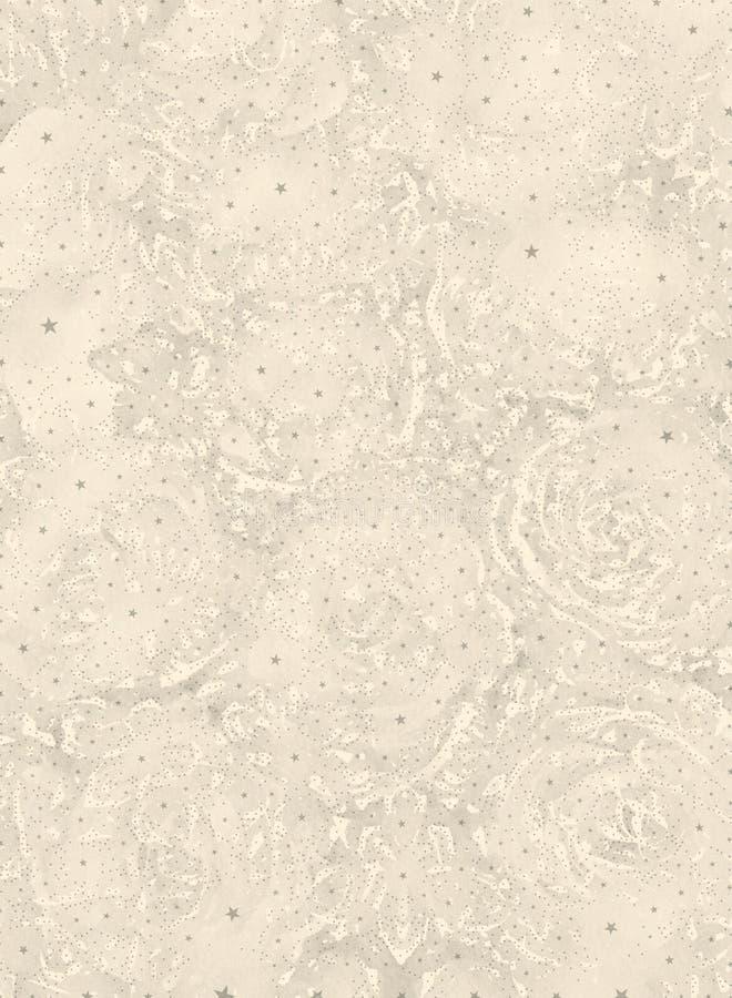 与星的抽象米黄花卉图解背景 皇族释放例证