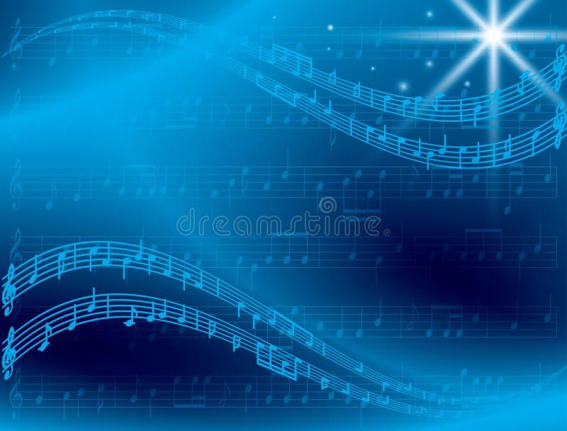 与星的抽象蓝色音乐背景 皇族释放例证