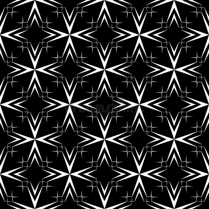 与星的抽象黑白无缝的传染媒介样式 皇族释放例证