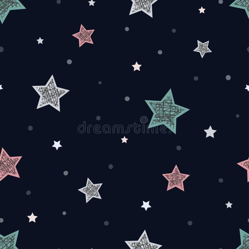 与星的无缝的幼稚样式 抽象背景晚上 库存例证