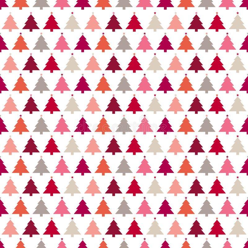 与星的无缝的样式圣诞树变粉红色红色橙色灰棕色 库存例证