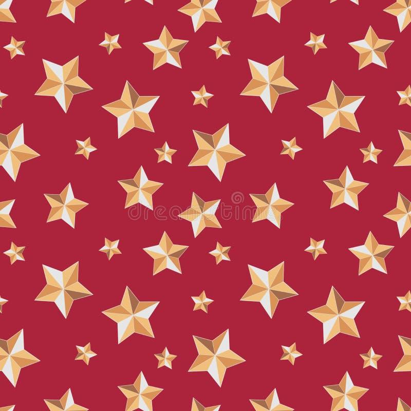 与星的无缝的纹理欢乐在红色背景 向量例证