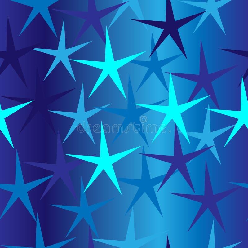 与星的无缝的蓝色背景 皇族释放例证