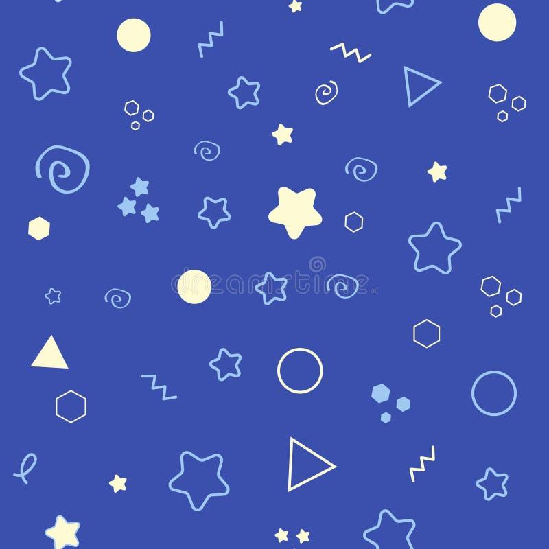 与星的晚上好无缝的样式 美梦背景 也corel凹道例证向量 库存例证