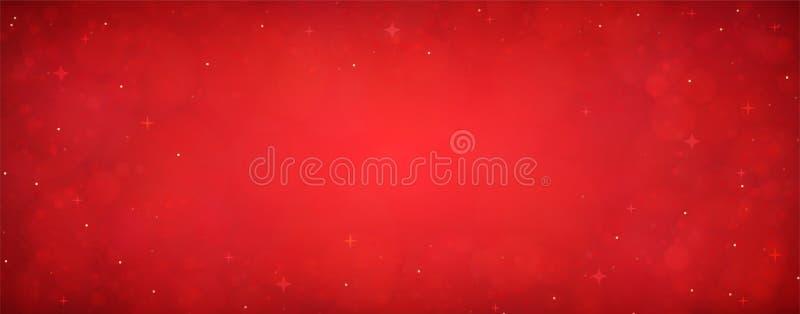 与星的红色圣诞节闪烁背景 欢乐发光蓝色 皇族释放例证