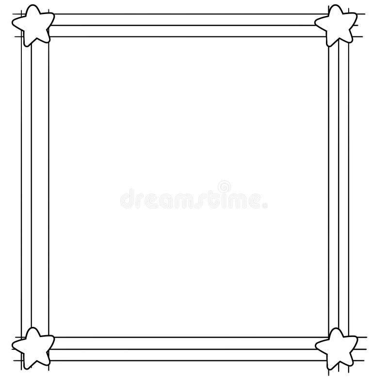 与星的装饰框架边界在弦 库存例证
