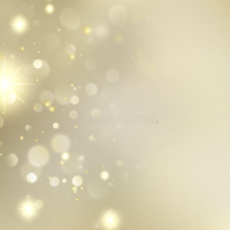 与星的金黄被弄脏的Bokeh背景 EPS 10向量 皇族释放例证