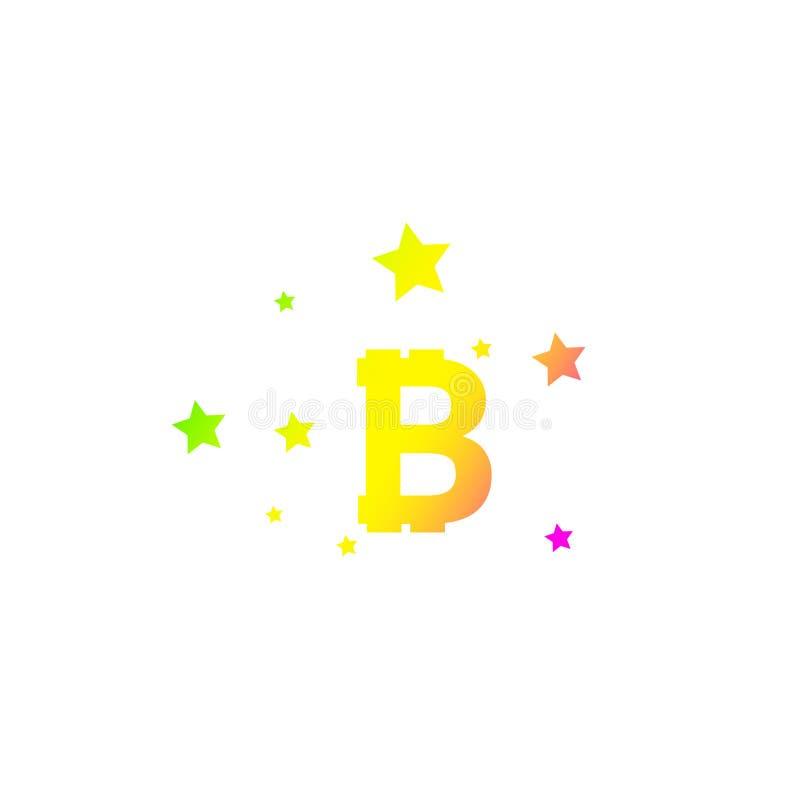 与星的Bitcoin硬币 与典雅的星足迹的抽象落的bitcoin-黑射击bitcoin在白色背景- 向量例证