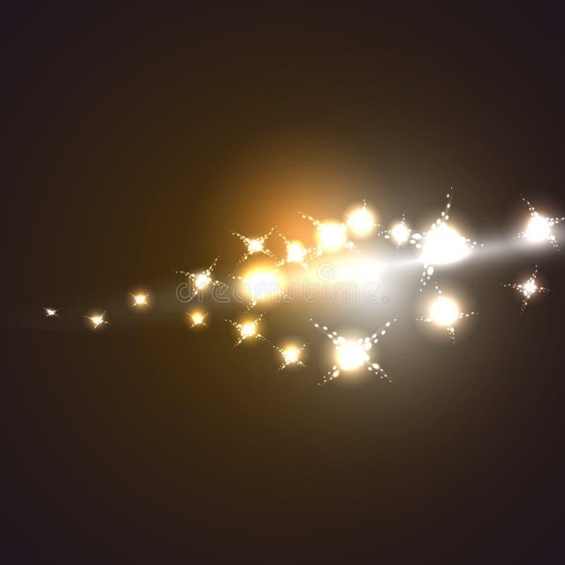 与星系,宇宙,星的图象的摘要黄色金黄宇宙不可思议的能量明亮的发光的发光的纹理和 皇族释放例证