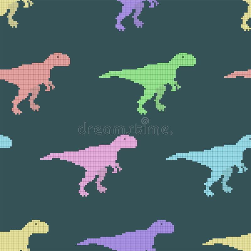 与映象点恐龙的传染媒介无缝的样式 向量例证