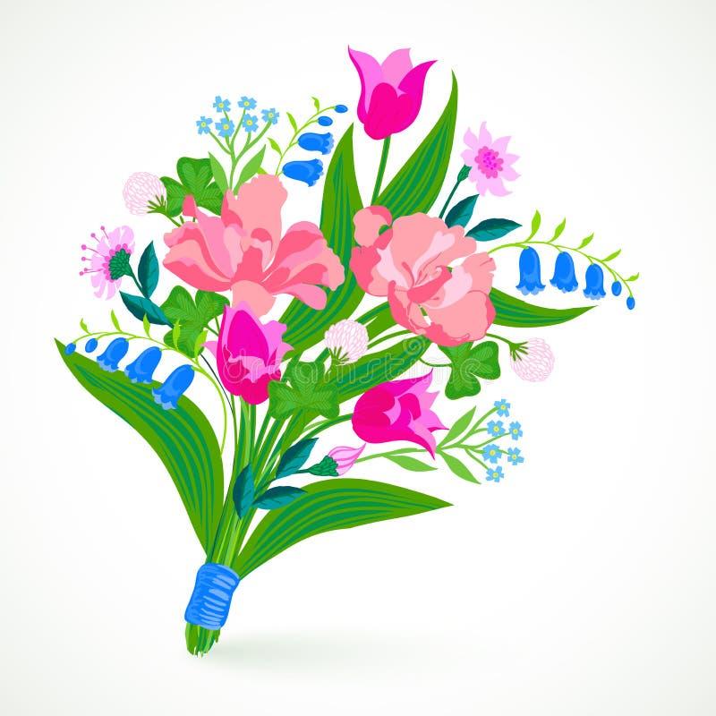 与春天和夏天花束的卡片开花 向量例证