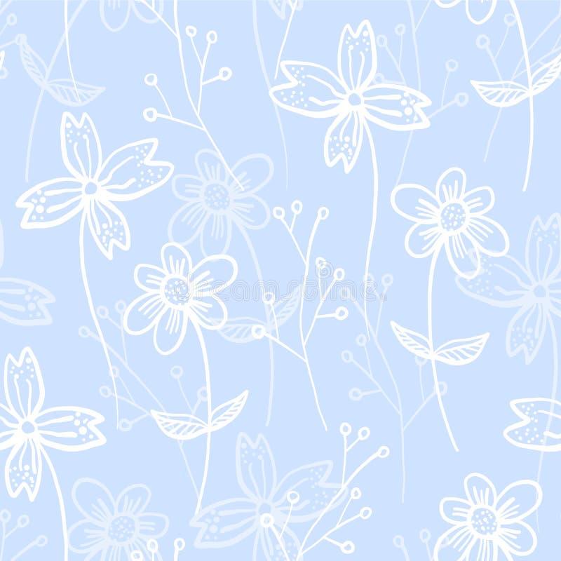 与春天手拉的花的嫩蓝色样式 向量例证