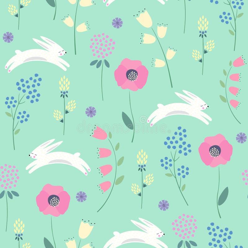 与春天的复活节兔子开花在绿色背景的无缝的样式 向量例证